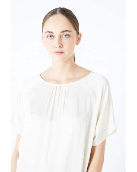 SHORT SLEEVES SATIN BLOUSE